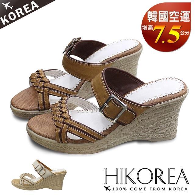【HIKOREA】韓國空運/版型偏小。古典美人美腿設計編織楔型涼拖鞋(71-3259二色/現貨+預購)