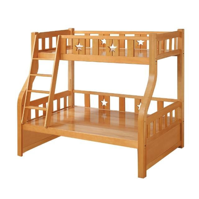 【BODEN】普利實木功能型雙層床架(4尺加大單人+3尺單人-不含抽屜櫃)