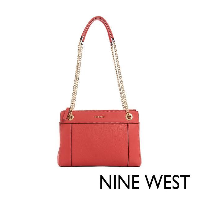 【NINE WEST】ELLIE素色鍊帶肩背包-珊瑚紅(116811)