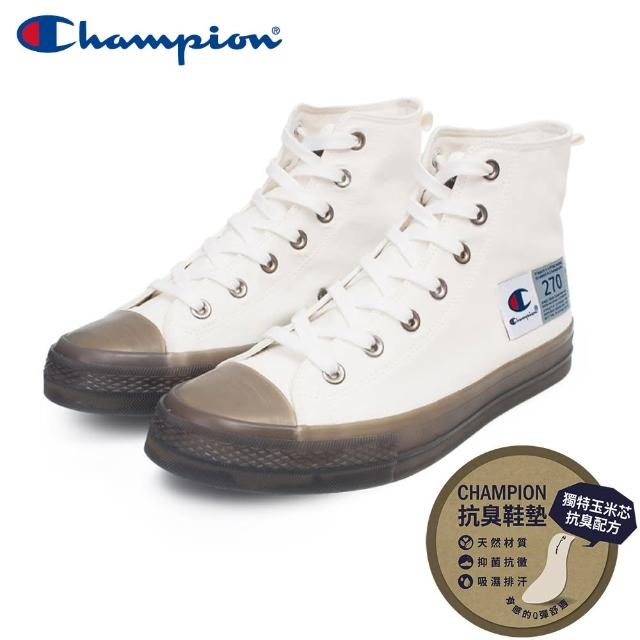 【Champion】男/女 帆布鞋 高筒帆布鞋 JELLY HI-CANVAS-白/灰(USLS-1015-02)