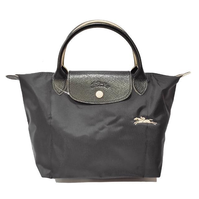 【LONGCHAMP】LE PLIAGE CLUB 短把摺疊手提刺繡水餃包 S號(黑色)