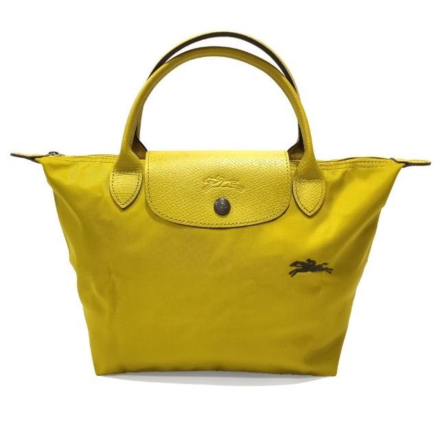 【LONGCHAMP】LE PLIAGE CLUB 短把摺疊手提刺繡水餃包 S號(黃色)