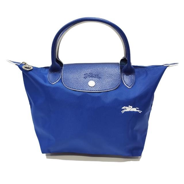 【LONGCHAMP】LE PLIAGE CLUB 短把摺疊手提刺繡水餃包 S號(藍色)