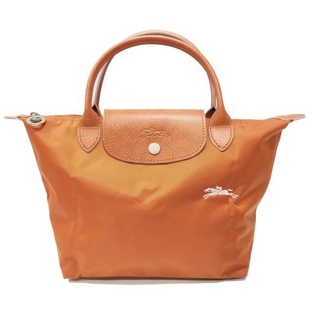 【LONGCHAMP】LE PLIAGE CLUB 短把摺疊手提刺繡水餃包 S號(磚橘色)