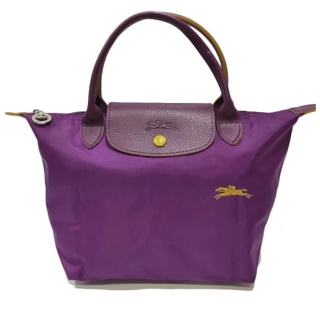 【LONGCHAMP】LE PLIAGE CLUB 短把摺疊手提刺繡水餃包 S號(紫色)