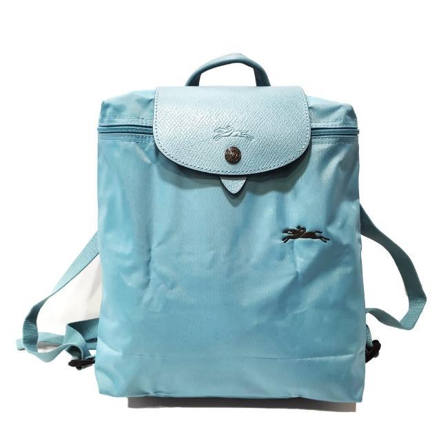 【LONGCHAMP】Le-Pliage 拉鍊尼龍摺疊後揹包(水藍色)