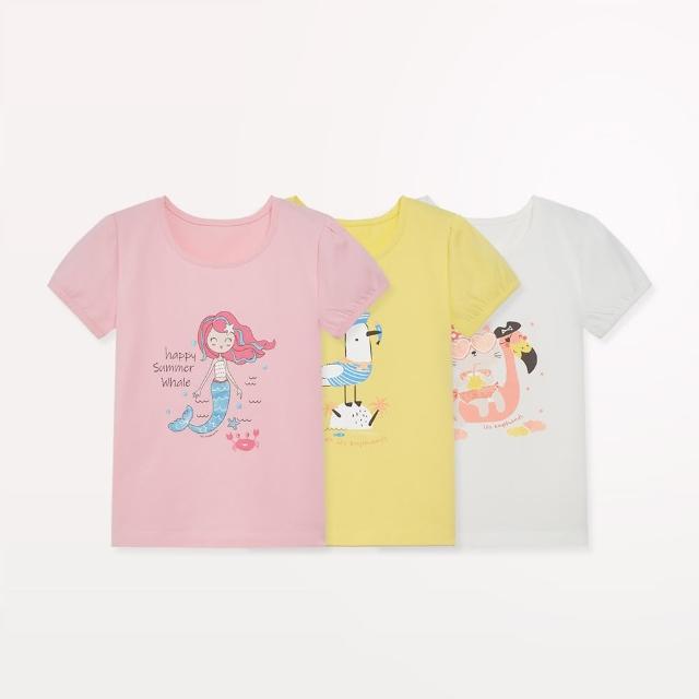 【麗嬰房】EASY輕鬆系列 女童海盜樂園印花短袖上衣(白色/黃色/粉紅色 76cm~130cm)