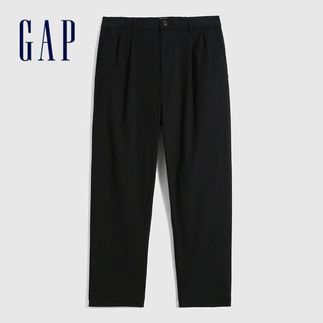 【GAP】男裝 通勤闊腿型寬鬆休閒褲(701293-黑色)