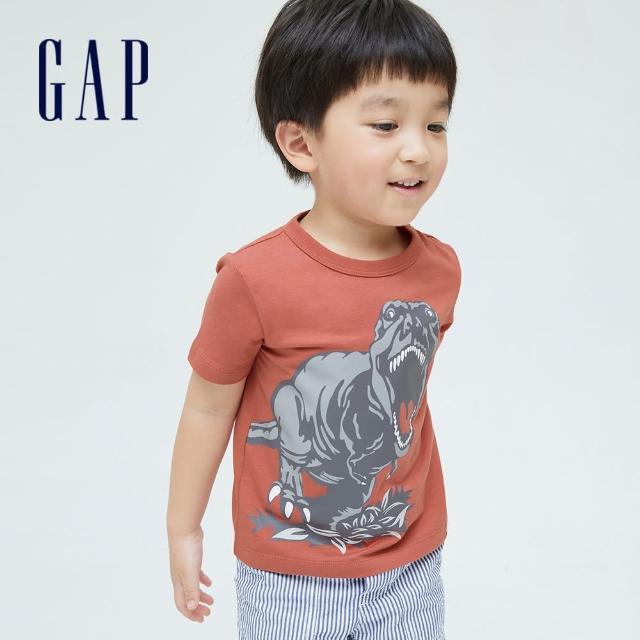 【GAP】男幼童 布萊納系列 趣味動物印花純棉T恤(701448-陶器紅)