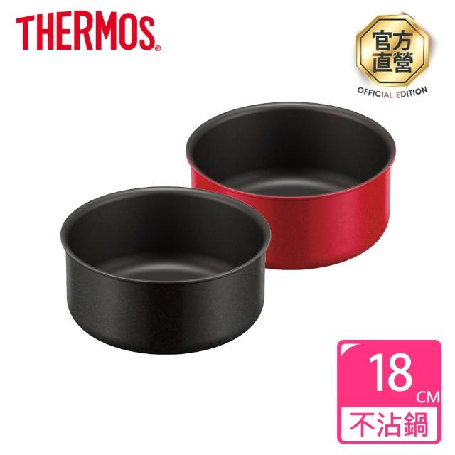 【THERMOS膳魔師】厚鑄耐摩不沾鍋單柄不沾湯鍋18cm(KOA-018)