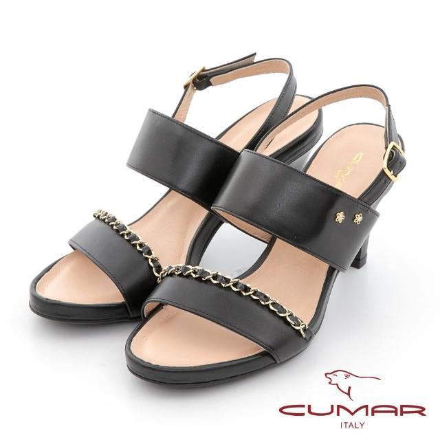 【CUMAR】鍊條兩截式一字帶高跟涼鞋(黑色)