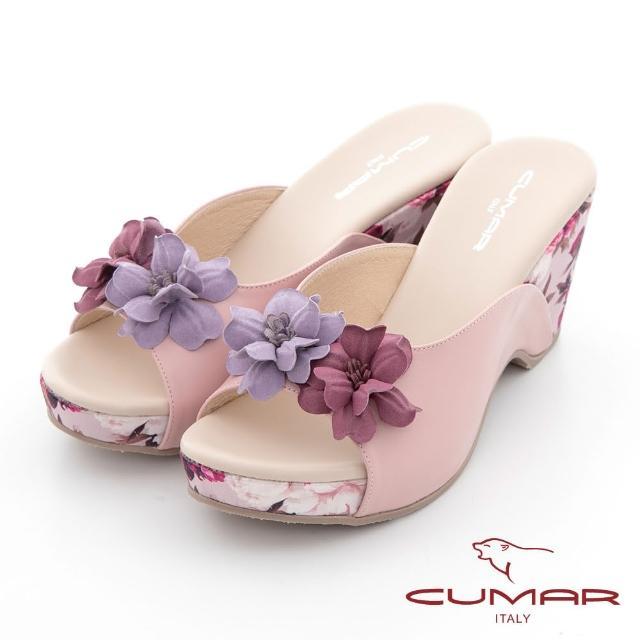 【CUMAR】花色拼接皮革楔型台涼拖鞋(淺粉紅)
