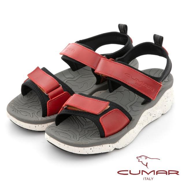【CUMAR】輕量化真皮彈力厚底涼鞋(紅色)