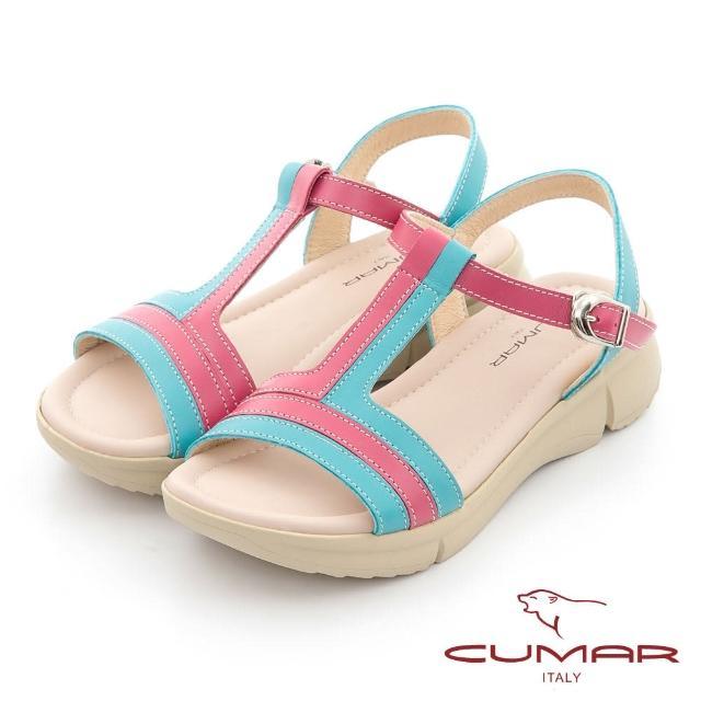 【CUMAR】配色工字帶彈力舒壓大底涼鞋(淺藍色)