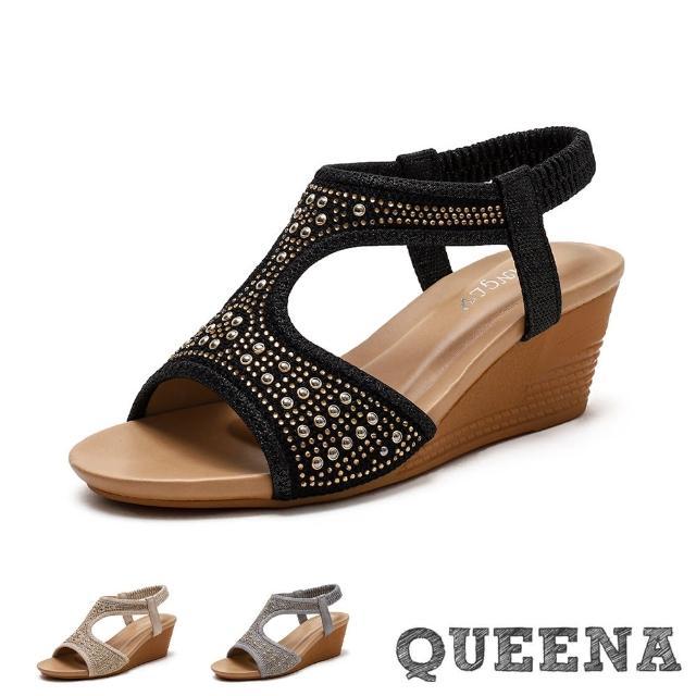 【QUEENA】坡跟涼鞋 鉚釘涼鞋/個性燙鑽鉚釘造型坡跟羅馬涼鞋(3色任選)