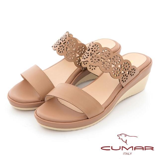 【CUMAR】簡約花朵沖孔涼拖鞋(棕色)