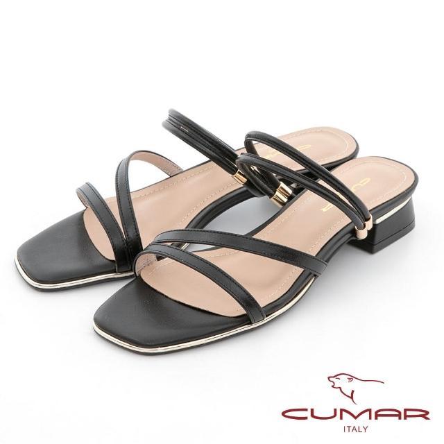 【CUMAR】兩穿式不對稱線條粗跟低跟涼鞋(黑色)