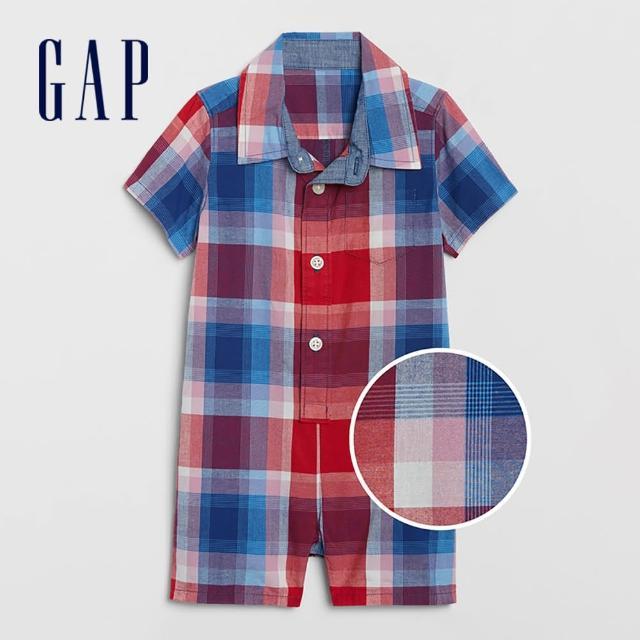 【GAP】嬰兒 英倫風格紋襯衫領包屁衣(700528-紅藍格紋)
