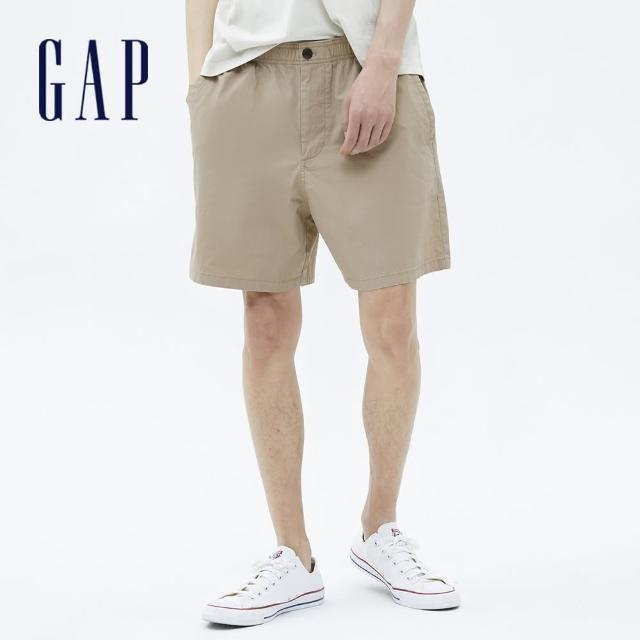 【GAP】男裝 素色棉質鬆緊休閒短褲(701282-卡其色)