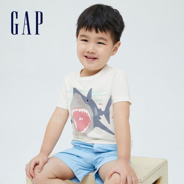 【GAP】男幼童 布萊納系列 趣味動物印花純棉T恤(701448-白色)