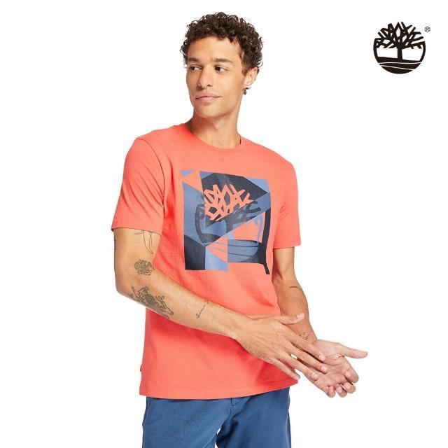 【Timberland】男款珊瑚紅特色印花LOGO有機棉短袖T恤(A24SD801)