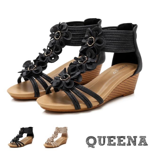 【QUEENA】坡跟涼鞋 楔型涼鞋/唯美立體花朵縷空線繩時尚坡跟羅馬涼鞋(3色任選)