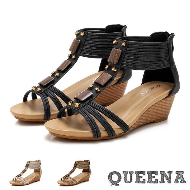 【QUEENA】楔型涼鞋 坡跟涼鞋/個性美鑽木釦串飾造型時尚坡跟羅馬涼鞋(3色任選)