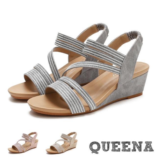 【QUEENA】坡跟涼鞋 楔型涼鞋/金屬亮絲Z字帶造型時尚坡跟羅馬涼鞋(3色任選)