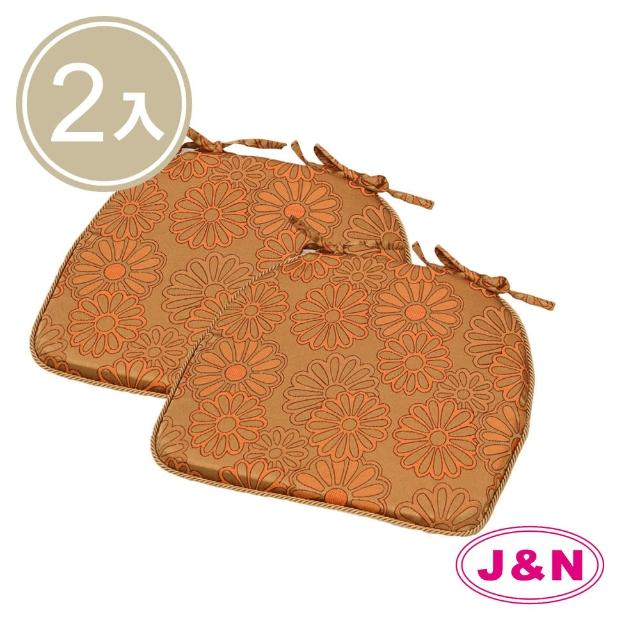【J&N】花影緹花餐椅墊-橘(2 入/1組)