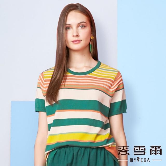 【MYVEGA 麥雪爾】純棉刺繡圖騰針織上衣-綠