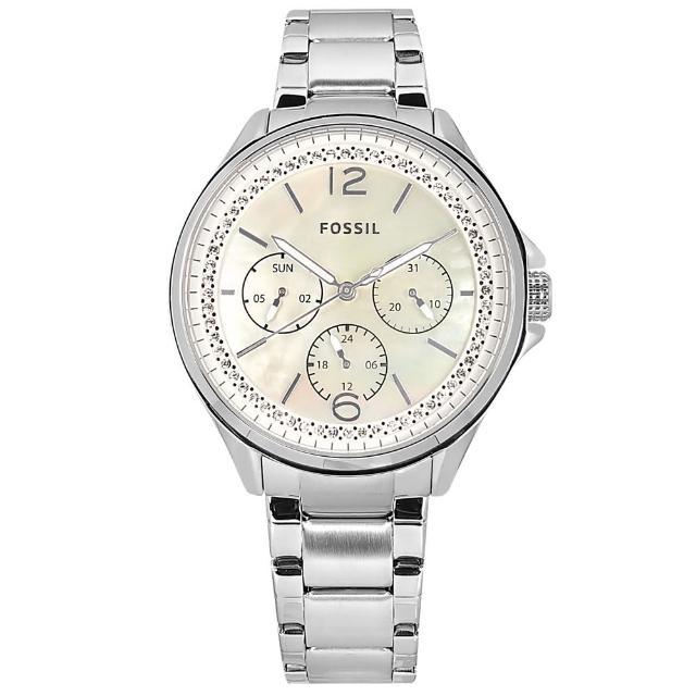 【FOSSIL】三眼三針 珍珠母貝 閃耀晶鑽 星期日期 不鏽鋼手錶 銀色 38mm(ES4778)