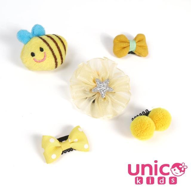 【UNICO】兒童 少髮量寶寶可愛小蜜蜂蝴蝶球球髮夾/髮飾-5入組(髮飾/配件/小蜜蜂/蝴蝶/球球)