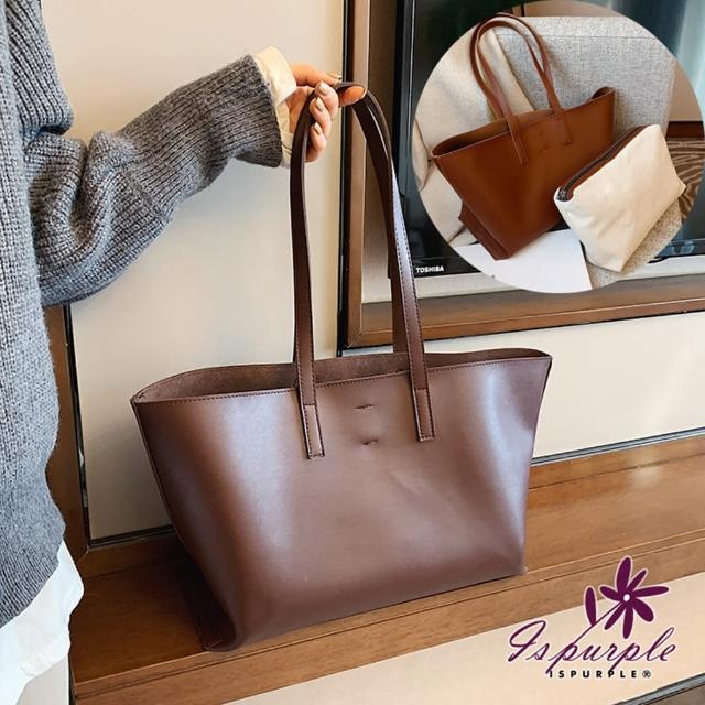 【iSPurple】梯形子母*大容量皮革手提肩背兩件組包/咖啡
