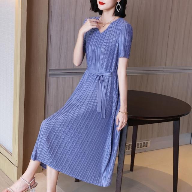 【糖潮】優雅藍條紋腰帶收腰顯瘦壓摺洋裝-F