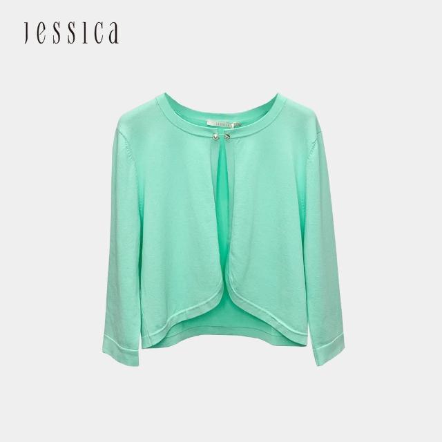 【JESSICA】素雅百搭七分袖短版針織開衫外套(薄荷綠)