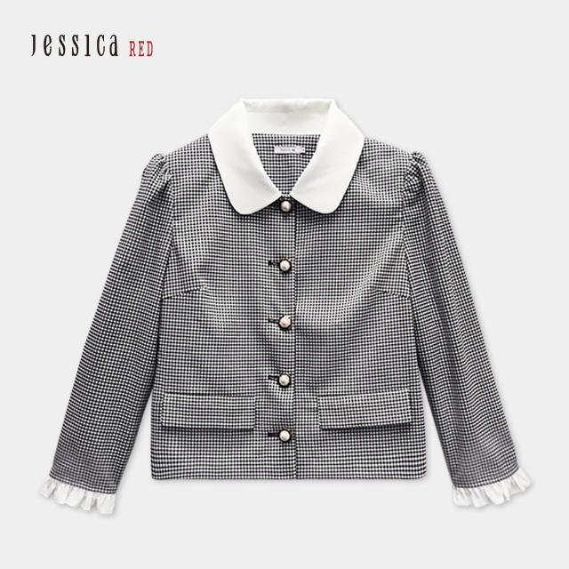 【Jessica Red】黑白細格紋小方領珍珠扣時髦百搭短外套