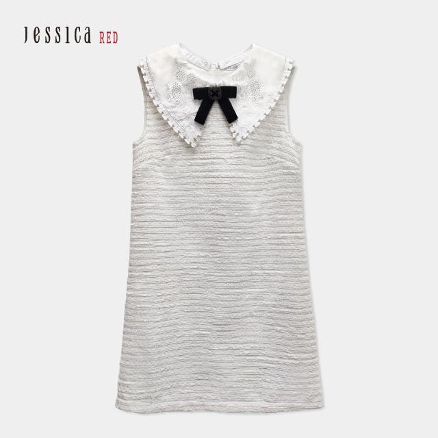 【Jessica Red】甜美花呢修身百搭拆卸刺繡領無袖洋裝(白)