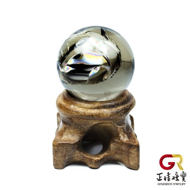 【正佳珠寶】茶晶水晶球擺件 彩虹結晶茶晶水晶球 28mm|黑檀木木座(淨化磁場能量)