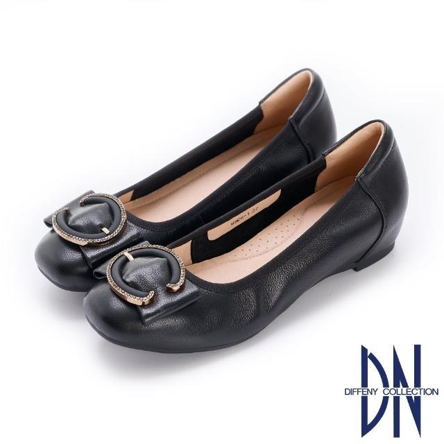 【DN】平底鞋_水鑽C字釦飾真皮內增高娃娃鞋(黑)