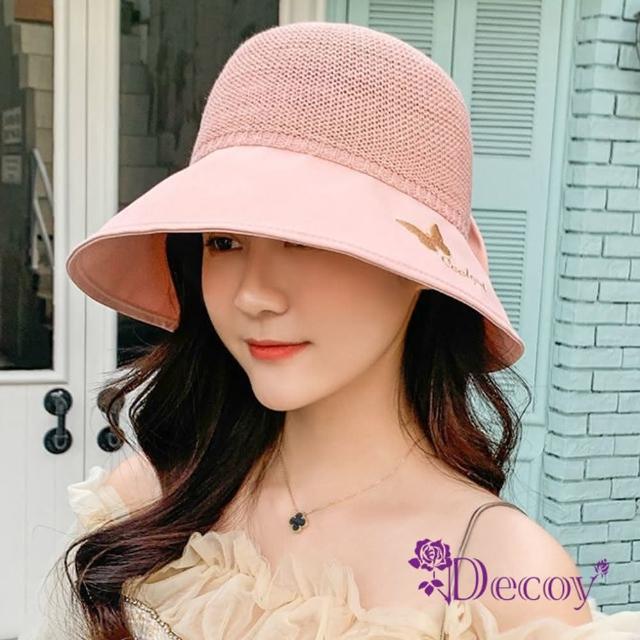 【Decoy】繡花蝴蝶*棉麻拼接防曬遮陽小圓盆帽