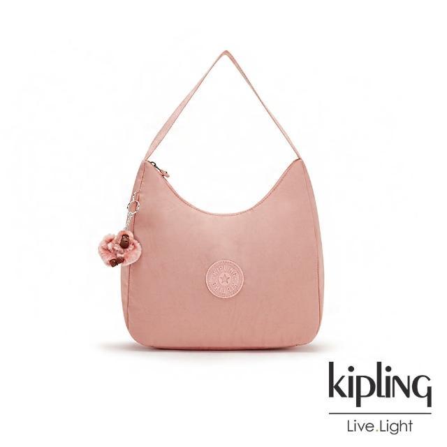 【KIPLING】玫瑰石英粉拉鍊造型開口手提肩背包-ISIDORA
