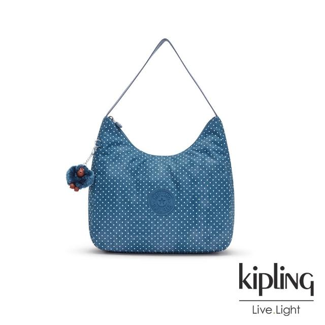 【KIPLING】復刻單寧水玉藍拉鍊造型開口手提肩背包-ISIDORA