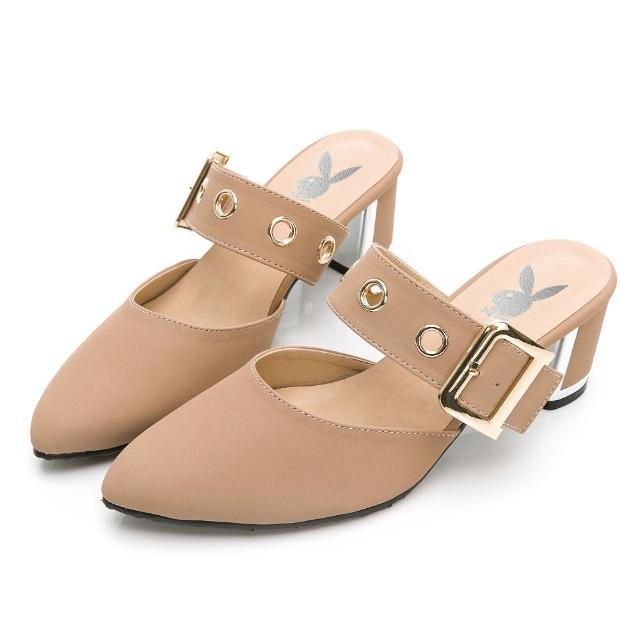 【PLAYBOY】玩美小時光 氣質高冷韓系穆勒鞋-粉-YD731599