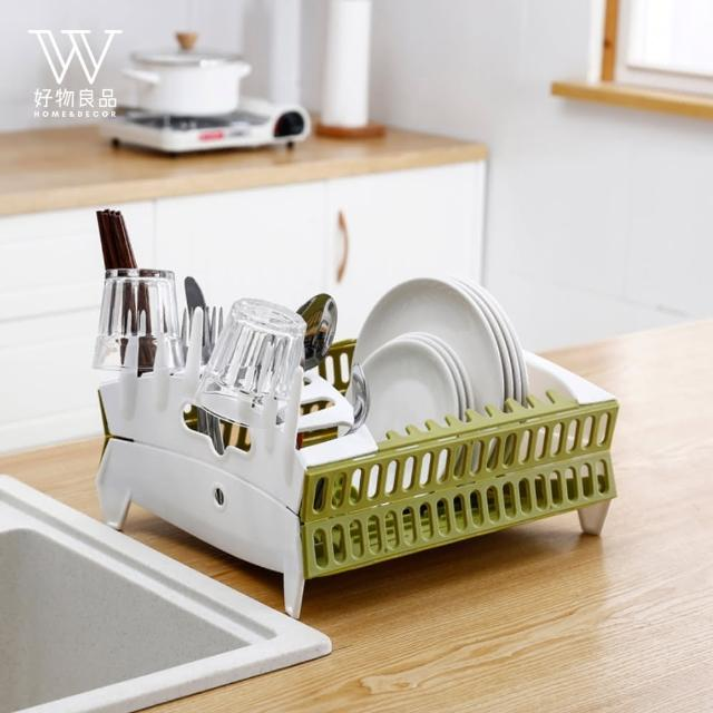 【好物良品】廚房可折疊瀝水餐具碗碟架(多款顏色任選)