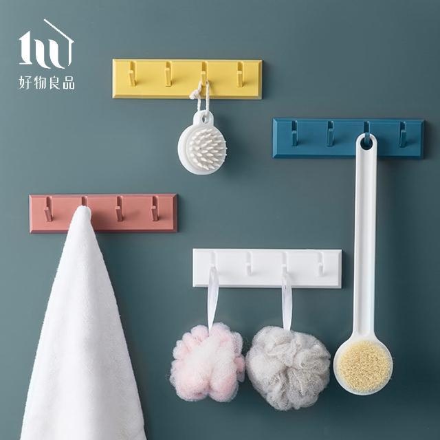【好物良品】浴室廚房壁掛門後四連鉤衣帽掛架(多款顏色任選)