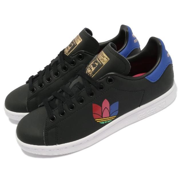 【adidas 愛迪達】休閒鞋 Stan Smith W 復古 女鞋 海外限定 彩色Logo 三葉草 球鞋 黑 白 藍(FW2458)