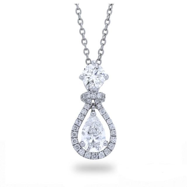 【Vividventure 亞帝芬奇】GIA FSI2 80分 雙主石 鑽石項鍊 鉑金台 八心八箭 水滴鑽