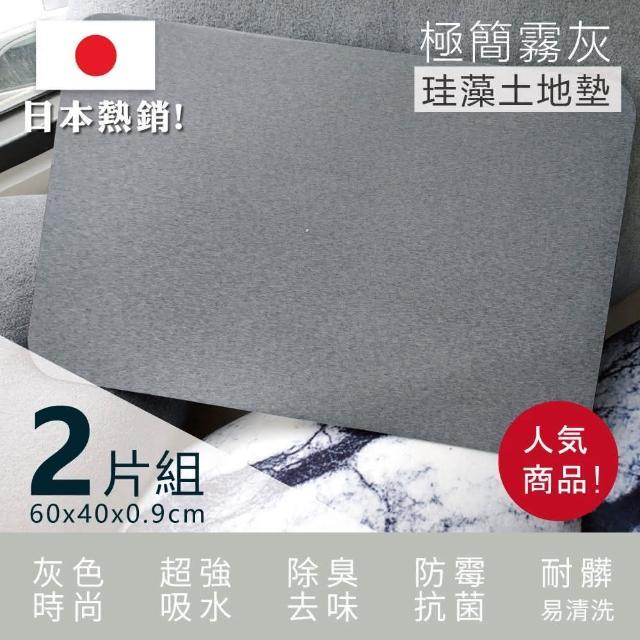 【Made in Taiwan】外銷日本-極簡霧灰珪藻土地墊-2片組(加厚加大 MIT 防霉 灰色 工業風 吸水 珪藻土)