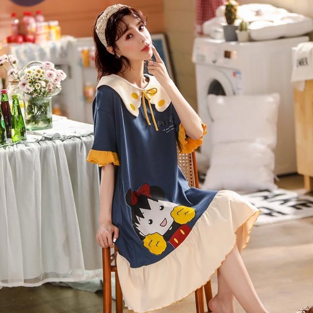 【Secret Lover】藍色翻領綁帶可外穿居家服洋裝SL22052(女短袖可外穿居家服洋裝)