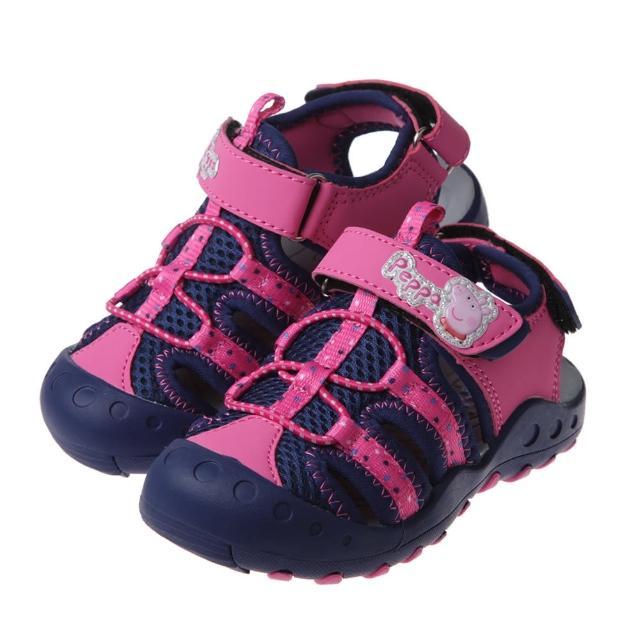 【布布童鞋】粉紅豬小妹佩佩豬桃色兒童透氣運動護趾涼鞋(A1D566H)